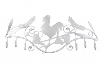 6 Hook Wrought Iron White Rooster 15888grid