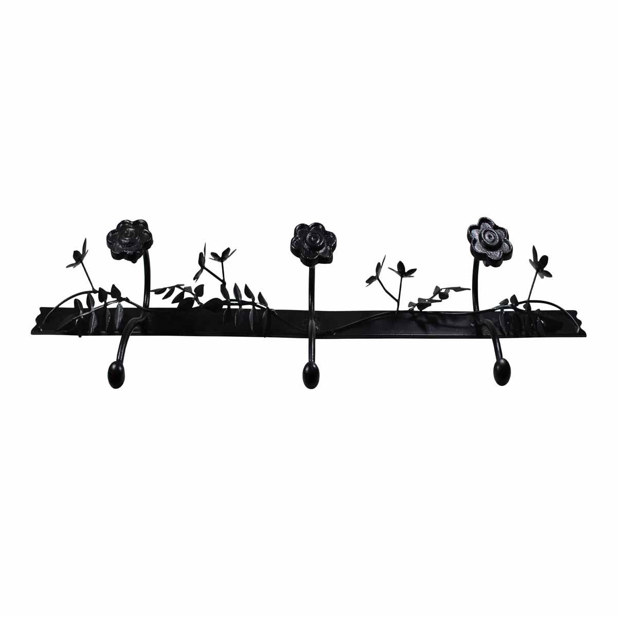 Decorative Triple Hook Black Rose Wrought Iron Hooks Decorative Hook Coat Hook