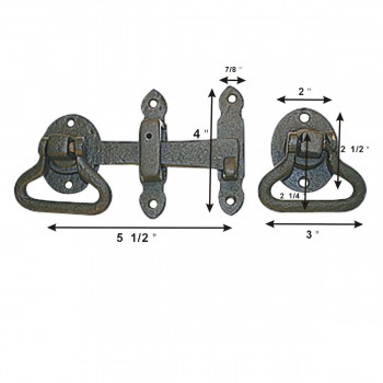 spec-<PRE>Wrought Iron Door Gate Latch Lock Set Width 5 1/2 Inches </PRE>