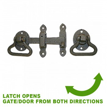 spec-<PRE>Door Latch Wrought Iron Black Set 5 1/2'' W </PRE>