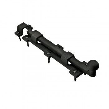 "<PRE>Slide Door Bolt Rough Wrought Iron 8 3/4inch inch W x1 1/2"" H </PRE>zoom6"