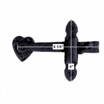 spec-<PRE>Gate Latch Black Wrought Iron Set 4in X 6 3/8in</PRE>