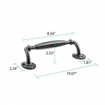spec-<PRE>Wrought Iron 10 1/4&quot; Door Pull Rust Resistant Colonial Style Design| Renovator'</PRE>
