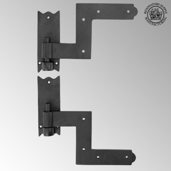 <PRE>Pair Shutter Hinge Wrought Iron 6inch H x 6 1/2&quot; W </PRE>zoom2