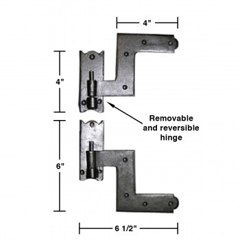 "spec-<PRE>Pair Shutter Hinge Wrought Iron 6"" H x 6 1/2"" W </PRE>"