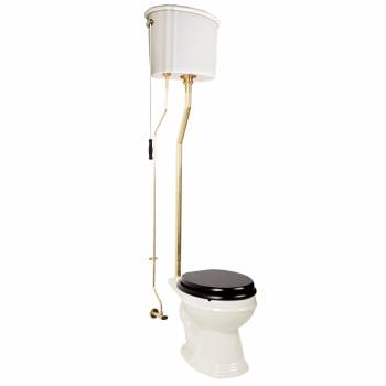 Biscuit High Tank Toilet, Round Bowl, Brass LPipe High Tank Pull Chain Toilets Round Bowl High Tank Toilet Old Fashioned Toilet