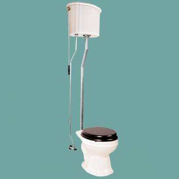 Biscuit High Tank Toilet, Round Bowl, Chrome LPipe High Tank Pull Chain Toilets Round Bowl High Tank Toilet Old Fashioned Toilet