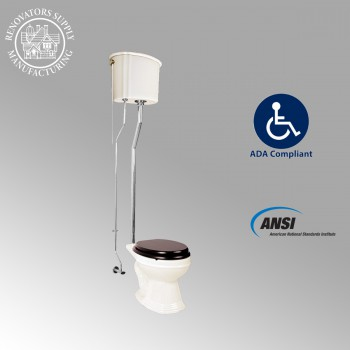<PRE>Biscuit High Tank Toilet, Elongated Bowl, Chrome L-Pipe </PRE>