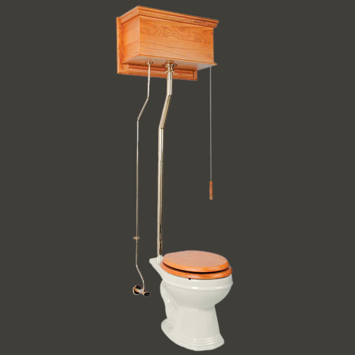 High Tank Toilet Light Oak Round Biscuit Brass Pvd