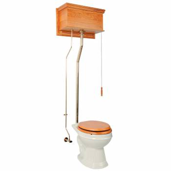 <PRE>High Tank Toilet Light Oak Round Biscuit Brass PVD  </PRE>zoom1
