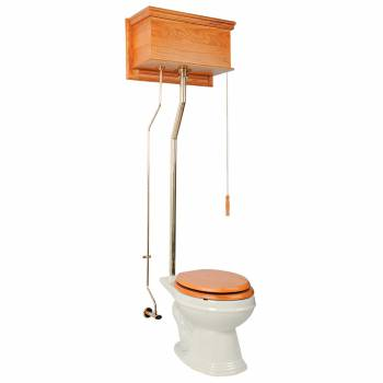 Light Oak Finish Flat Panel Elongated High Tank Toilet L-pipe - Brass PVD