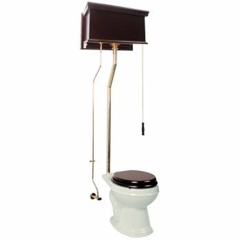 Dark Oak High Tank Toilet Biscuit Round Brass 15933grid