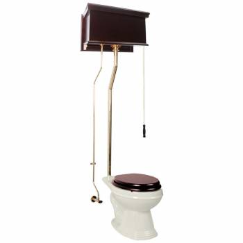 High Tank Dark Oak Pull Chain Toilet Biscuit Porcelain Elongated Bowl Brass LPipe15934grid