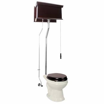 Dark Oak Finish Flat Panel Round High Tank Toilet L-pipe - Chrome