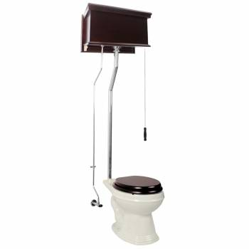 Dark Oak High Tank Pull Chain Toilet Biscuit Elongated Chrome15936grid