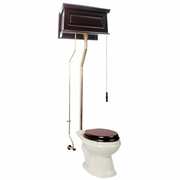 Dark Oak High Tank L-Pipe Toilet Elongated Biscuit Bowl 15942grid