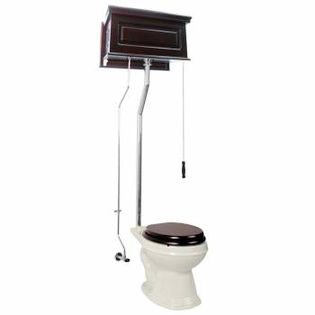 Dark Oak High Tank L-Pipe Toilet Elongated Biscuit Bowl 15944grid