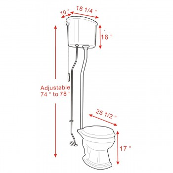 spec-<PRE>Black High Tank Pull Chain Toilet Rust Resistant Brass L-Pipe Round Bowl</PRE>
