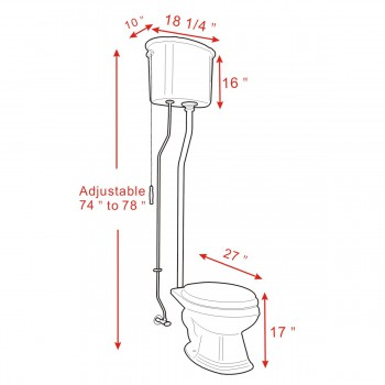 spec-<PRE>Black High Tank Toilet, Elongated Bowl, Brass L-Pipe </PRE>