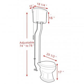 spec-<PRE>Black High Tank Toilet, Round Bowl, Chrome L-Pipe </PRE>