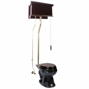 <PRE>Dark Oak High Tank Pull Chain Toilet Black China Round Bowl Brass LPipe</PRE>zoom1