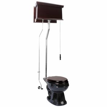 Dark Oak High Tank Pull Chain Toilet Black Round Chrome15955grid