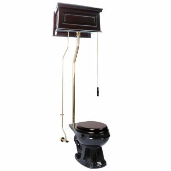 Dark Oak High Tank Pull Chain Toilet Black Round Brass 15961grid
