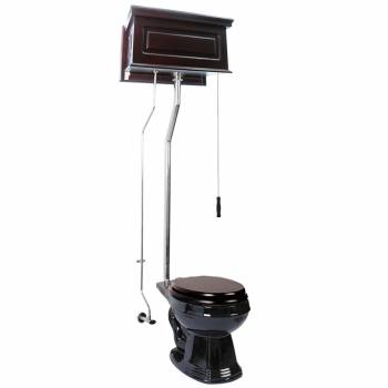 Dark Oak High Tank Pull Chain Toilet Black Round Bowl Chrome | Renovators Supply15963grid