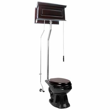 Dark Oak High Tank L-Pipe Toilet Elongated Black Bowl  15964grid