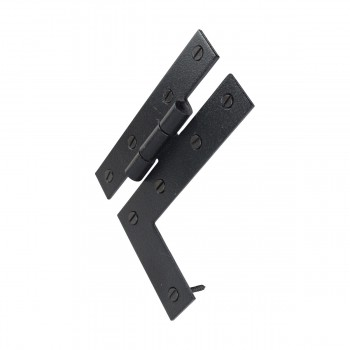 <PRE>H-L Flush Cabinet Hinge Black Wrought Left 4.5inchH </PRE>zoom7