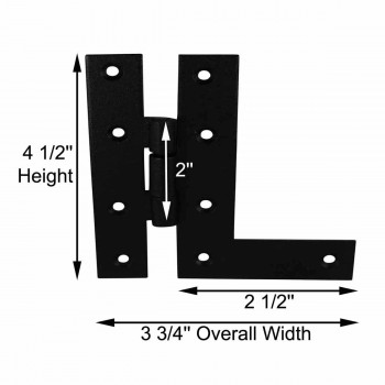 spec-<PRE>H-L Flush Cabinet Hinge Black Wrought Left 4.5&quot;H </PRE>