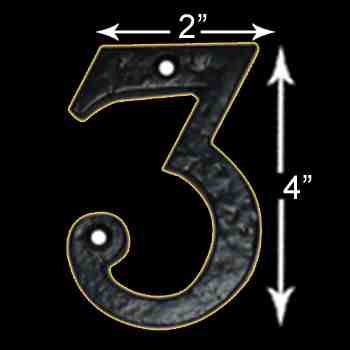 "spec-<PRE>Number ""3"" House Number Black Wrought Iron 4""H </PRE>"