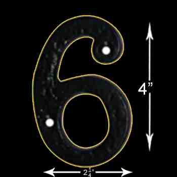 "spec-<PRE>Number ""6"" or ""9"" House Number Black Wrought Iron 4""H </PRE>"