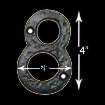 spec-<PRE>Number &quot;8&quot; House Number Black Wrought Iron 4&quot;H </PRE>