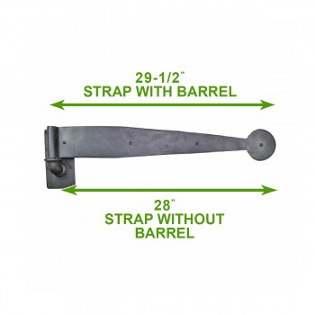 "spec-<PRE>Bean Pintle Strap Door Hinge Wrought Iron 28"" </PRE>"