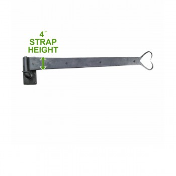 spec-<PRE>Pintle Strap Door Hinge Heart Tip Black Wrought Iron 34&quot; </PRE>