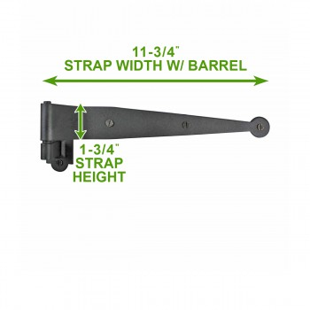 spec-<PRE>Offset Pintle Shutter Strap Hinge Wrought Iron 11 3/4&quot; </PRE>