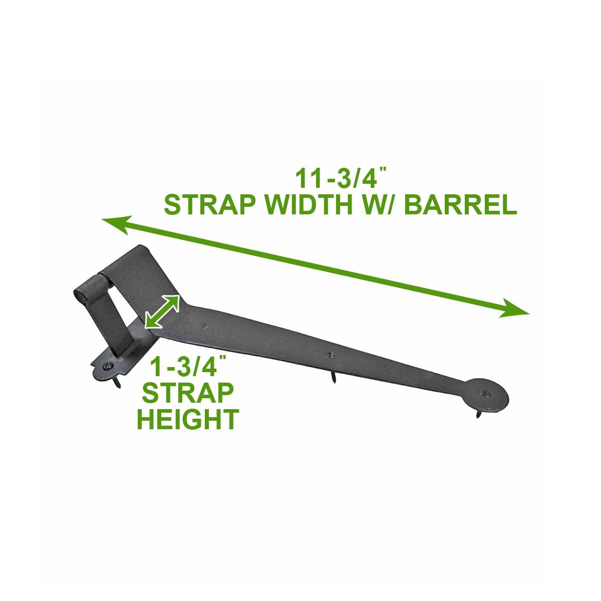 "<PRE>Black Iron Offset Shutter Strap Pintle Hinge 11 3/4"" </PRE>"
