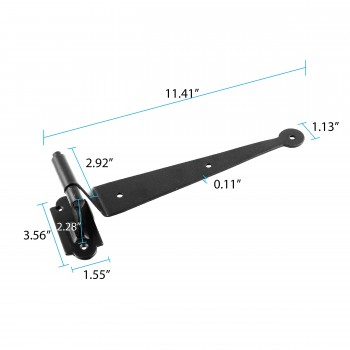spec-<PRE>Black Iron Offset Shutter Strap Pintle Hinge 11 3/4&quot; </PRE>