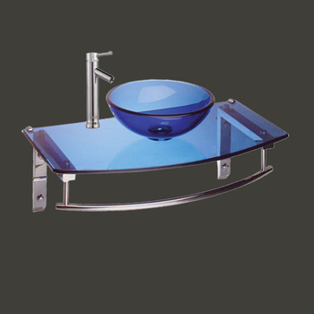 Blue Boston Harbor Glass Wall Mount Sink With Faucet - Glass sinks, Glass sink info & unique Glass accessories, quantity discounts on Glass sinks, Glass pedestal sinks, Glass wall mount sinks, Glass console sinks, counter top Glass sinks, Glass counter top sinks, Glass pedestal sinks, bathroom fixtures, Glass bathroom sinks, sink faucets & free shipping by Renovator's Supply.
