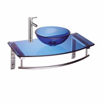 Wall Mount Sinks Blue/Chrome Glass Wall Mount Sink W/ Faucet16013grid