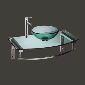 Green Boston Harbor Glass Wall Mount Sink With Faucet - Glass sinks, Glass sink info & unique Glass accessories, quantity discounts on Glass sinks, Glass pedestal sinks, Glass wall mount sinks, Glass console sinks, counter top Glass sinks, Glass counter top sinks, Glass pedestal sinks, bathroom fixtures, Glass bathroom sinks, sink faucets & free shipping by Renovator's Supply.