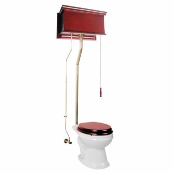 Cherry High Tank Toilet with White Elongated Bowl Brass Rear Entry16017grid