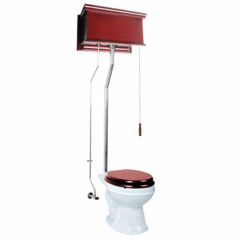 Cherry High Tank Pull Chain Toilet White Round Chrome 16018grid