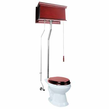 Cherry High Tank Pull Chain Toilet White Elongated Chrome