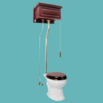 Toilets - Cherry Finish Raised Panel Round High Tank Toilet L-pipe - Brass PVD by the Renovator's Supply