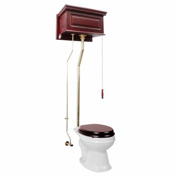 Cherry High Tank Pull Chain Toilet with White Elongated Bowl Brass Rear Entry16021grid