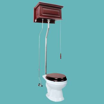 Toilets - Cherry Finish Raised Panel Round High Tank Toilet L-pipe - Chrome by the Renovator's Supply