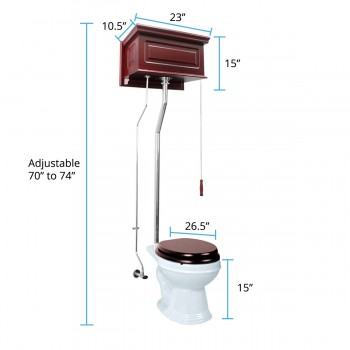 spec-<PRE>Cherry High Tank Pull Chain Toilet with White Round Bowl and Chrome Rear Entry</PRE>