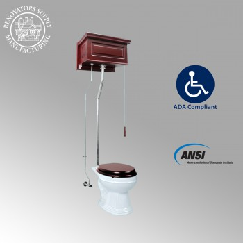 Toilets - Cherry Finish Raised Panel Elongated High Tank Toilet L-pipe - Chrome by the Renovator's Supply